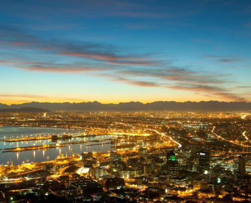 Dawn on the coast of Cape Town city