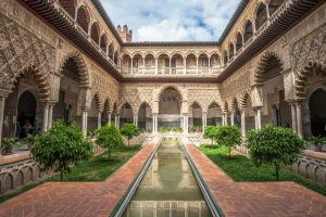 Patio in Royal Alcazars of Seville Spain