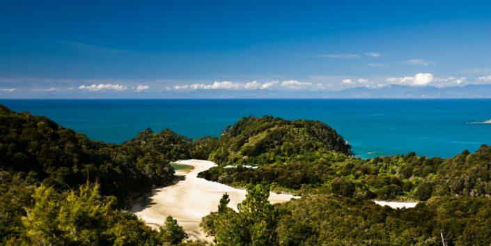 panorama over abel tasman national park