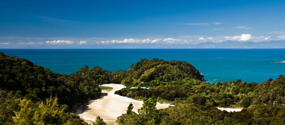 panorama over abel tasman national park