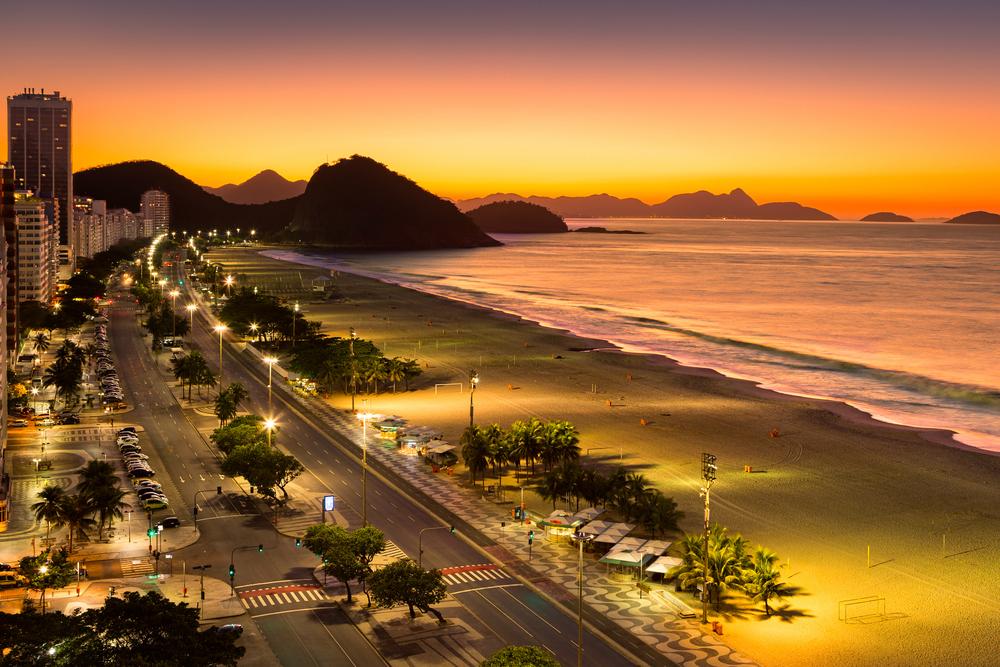 Copacabana Beach at dawn in Rio de Janeiro Brazil