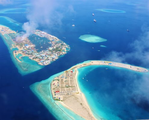 Aerial view of the lagoon of the airport island of Male in the Maldives