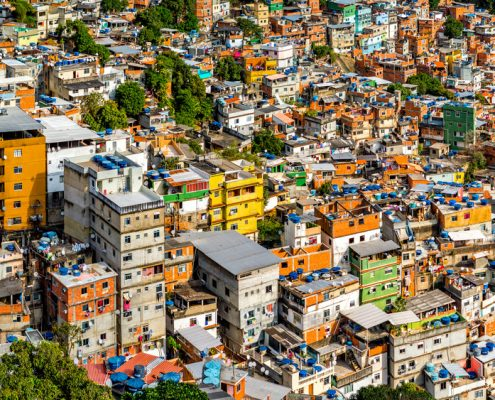 Aerial view of Rios Rocinha favela on a sunny afternoon