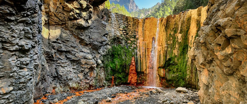 Waterfall Cascada de Colores at La Palma (Canary Islands)