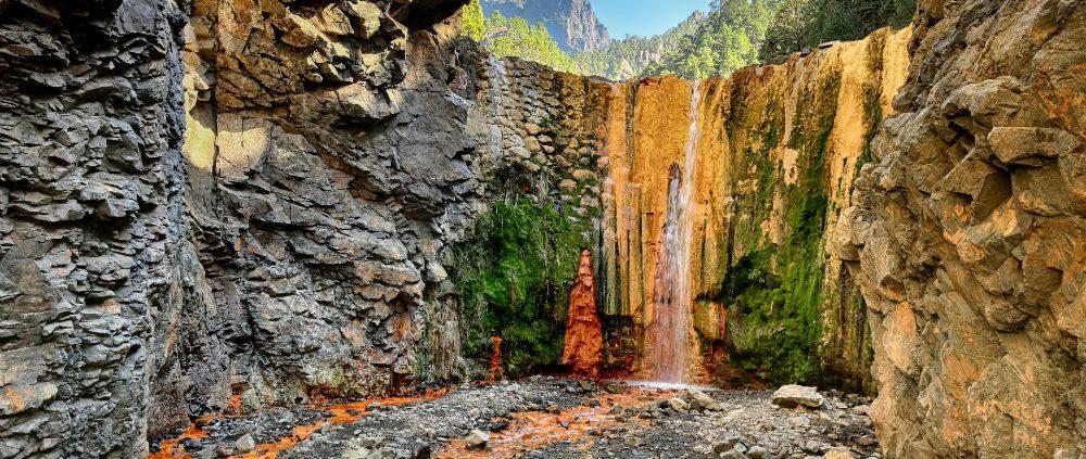 Waterfall Cascada de Colores at La Palma (Canary Islands)