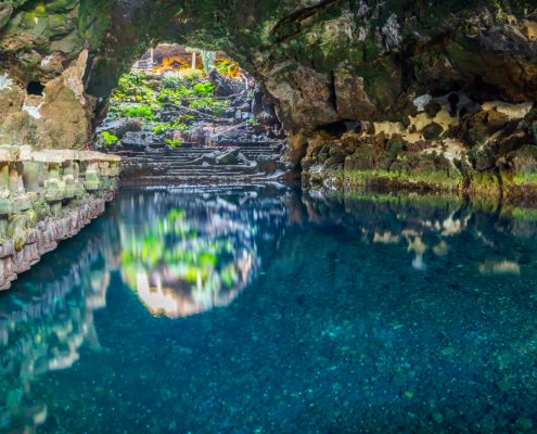 Beautiful cave in Jameos del Agua Lanzarote Canary Islands Spain