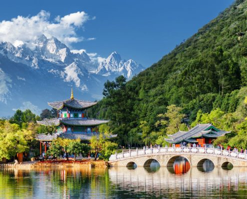 Amazing view of the Jade Dragon Snow Mountain and the Black Dragon Pool Lijiang Yunnan province China