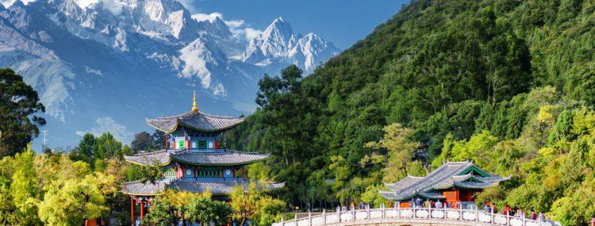 Amazing view of the Jade Dragon Snow Mountain and the Black Dragon Pool Lijiang Yunnan province China